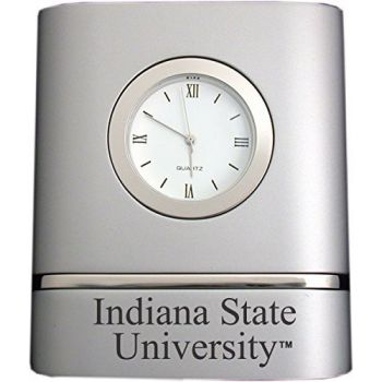 Indiana State University- Two-Toned Desk Clock -Silver
