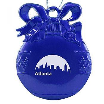 Pewter Christmas Bulb Ornament - Atlanta City Skyline