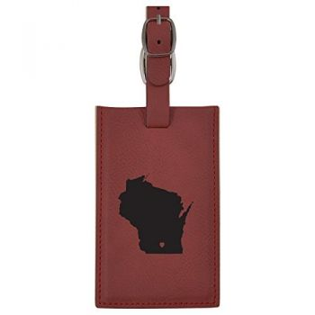 Wisconsin-State Outline-Heart-Leatherette Luggage Tag -Burgundy