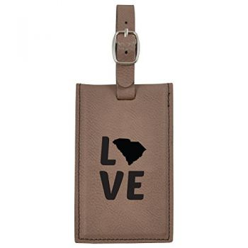 South Carolina-State Outline-Love-Leatherette Luggage Tag -Brown