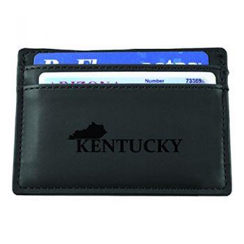 Kentucky-State Outline-European Money Clip Wallet-Black