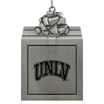 University of Nevada Las Vegas-Pewter Christmas Holiday Present Ornament-Silver
