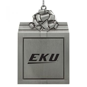 Eastern Kentucky University -Pewter Christmas Holiday Present Ornament-Silver