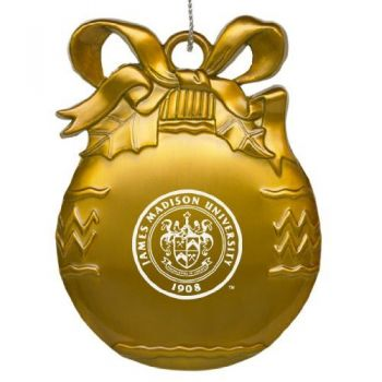 James Madison University - Pewter Christmas Tree Ornament - Gold