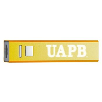 University of Arkansas at Pine Bluff - Portable Cell Phone 2600 mAh Power Bank Charger - Gold