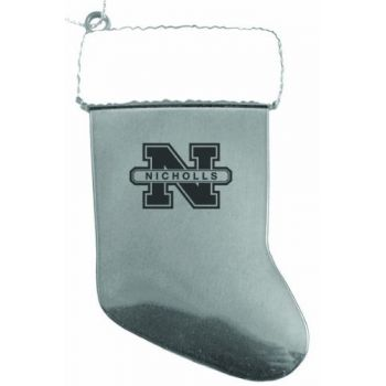 Nicholls State University - Christmas Holiday Stocking Ornament - Silver