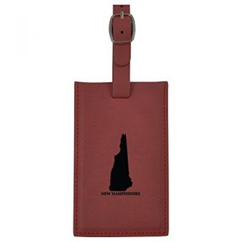 New Hampshire-State Outline-Leatherette Luggage Tag -Burgundy