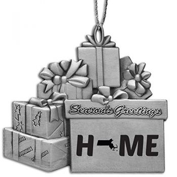 Massachusetts-State Outline-Home-Pewter Gift Package Ornament-Silver