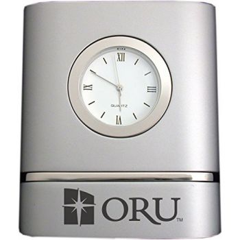 Oral Roberts University- Two-Toned Desk Clock -Silver
