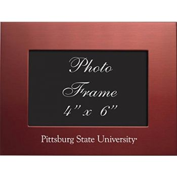 Pittsburg State University - 4x6 Brushed Metal Picture Frame - Red