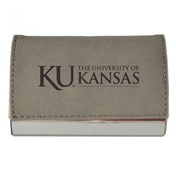 Velour Business Cardholder-The University of Kansas-Grey