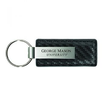 George Mason University-Carbon Fiber Leather and Metal Key Tag-Grey