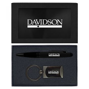 Davidson College-Executive Twist Action Ballpoint Pen Stylus and Gunmetal Key Tag Gift Set-Black