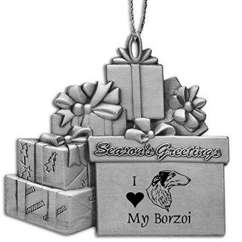 Pewter Gift Display Christmas Tree Ornament  - I Love My Borzoi