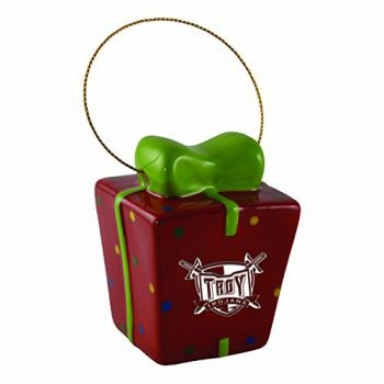 Troy University-3D Ceramic Gift Box Ornament