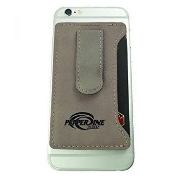 Pepperdine university -Leatherette Cell Phone Card Holder-Tan
