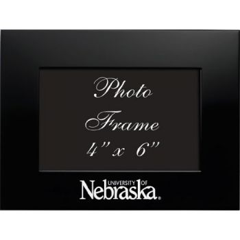 University of Nebraska - 4x6 Brushed Metal Picture Frame - Black