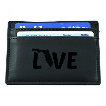 Florida-State Outline-Love-European Money Clip Wallet-Black