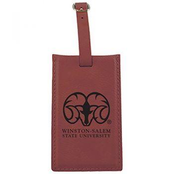 Winston-Salem State University -Leatherette Luggage Tag-Burgundy