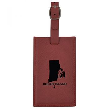 Rhode Island-State Outline-Leatherette Luggage Tag -Burgundy