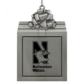 Northwestern University -Pewter Christmas Holiday Present Ornament-Silver