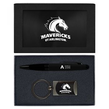 University of Texas at Arlington -Executive Twist Action Ballpoint Pen Stylus and Gunmetal Key Tag Gift Set-Black