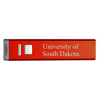 University of South Dakota - Portable Cell Phone 2600 mAh Power Bank Charger - Red
