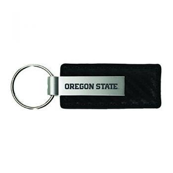 Oregon State University-Carbon Fiber Leather and Metal Key Tag-Grey