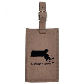 Massachusetts-State Outline-Leatherette Luggage Tag -Brown
