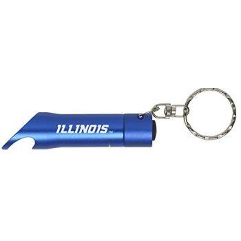University of Illinois at Urbana–Champaign - LED Flashlight Bottle Opener Keychain - Blue