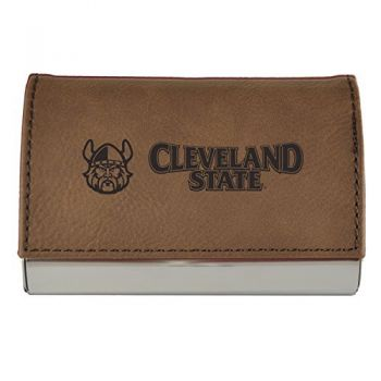 Velour Business Cardholder-Cleveland State University-Brown