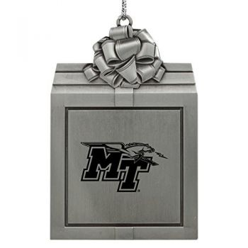 Middle Tennessee State University -Pewter Christmas Holiday Present Ornament-Silver
