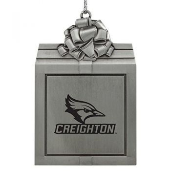 Creighton University -Pewter Christmas Holiday Present Ornament-Silver