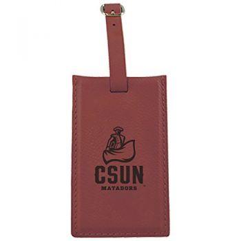 California State University, Northridge -Leatherette Luggage Tag-Burgundy