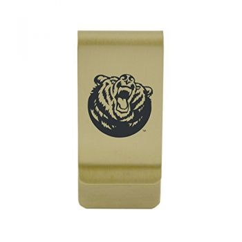 Baylor University|Money Clip with Contemporary Metals Finish|Solid Brass|High Tension Clip to Securely Hold Cash, Cards and ID's|Silver
