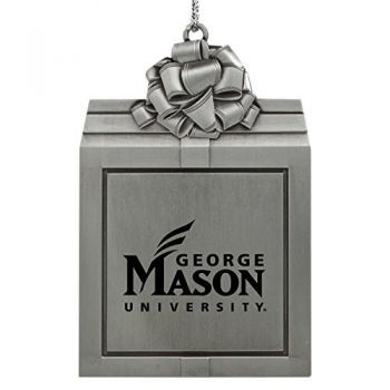 George Mason University -Pewter Christmas Holiday Present Ornament-Silver