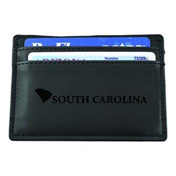 South Carolina-State Outline-European Money Clip Wallet-Black