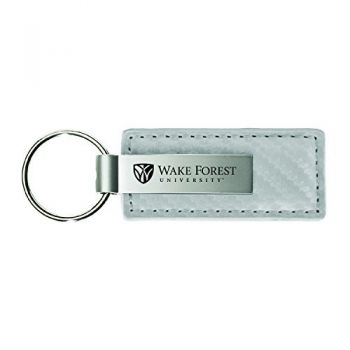 Wichita State University-Carbon Fiber Leather and Metal Key Tag-White