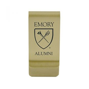 Elon University|Money Clip with Contemporary Metals Finish|Solid Brass|High Tension Clip to Securely Hold Cash, Cards and ID's|Silver