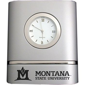 Montana State University- Two-Toned Desk Clock -Silver