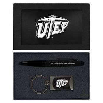 The University of Texas at El Paso -Executive Twist Action Ballpoint Pen Stylus and Gunmetal Key Tag Gift Set-Black