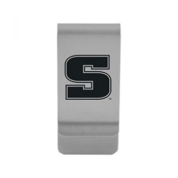 Slippery Rock University|Money Clip with Contemporary Metals Finish|Solid Brass|High Tension Clip to Securely Hold Cash, Cards and ID's|Gold