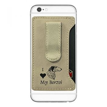 Cell Phone Card Holder Wallet with Money Clip  - I Love My Borzoi