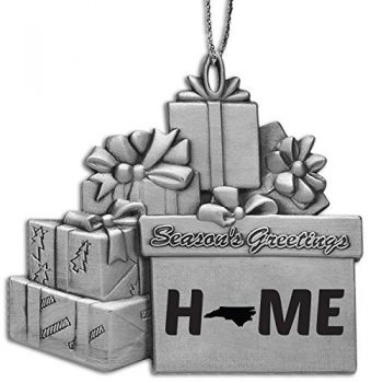 North Carolina-State Outline-Home-Pewter Gift Package Ornament-Silver