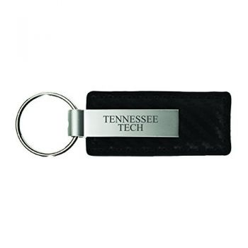 Tennessee Technological University-Carbon Fiber Leather and Metal Key Tag-Black