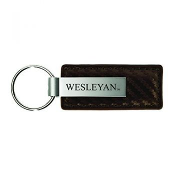 Wesleyan University-Carbon Fiber Leather and Metal Key Tag-Taupe