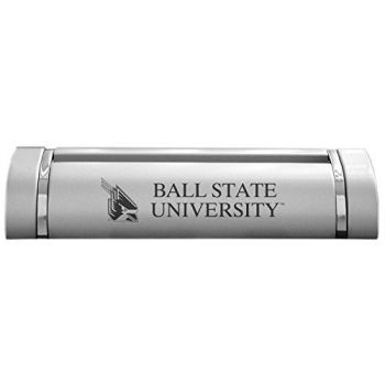 Ball State University-Desk Business Card Holder -Silver