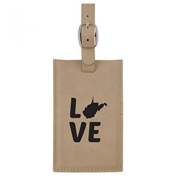 West Virginia-State Outline-Love-Leatherette Luggage Tag -Tan