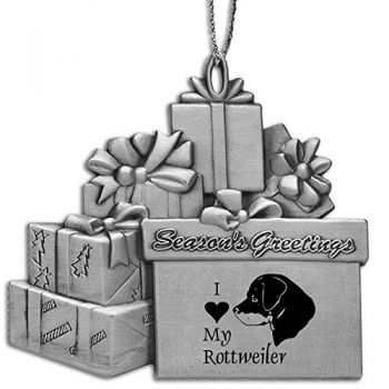 Pewter Gift Display Christmas Tree Ornament  - I Love My Rottweiler