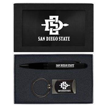 San Diego State University -Executive Twist Action Ballpoint Pen Stylus and Gunmetal Key Tag Gift Set-Black